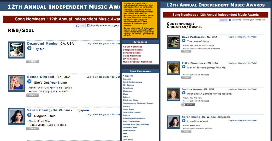 Sarah Cheng-De Winne Nominated at 12th Annual Independent Music Awards